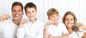 Family dentistry brushing teeth
